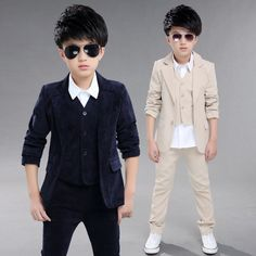 4df1a8f037502 2017 New fashion Children s clothing boys jacket+vest+pants casual formal  kids 3 pcs suit boys spring autumn sets solid color