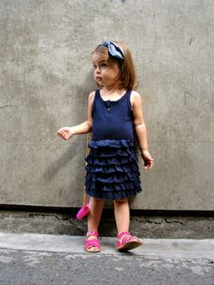 This little one has style! The Fuchsia definitely makes her outfit pop.