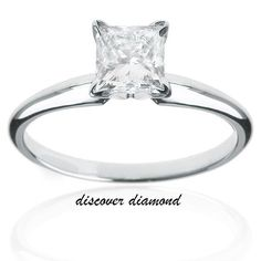 1.00Ct Princess Diamond 14k Solid White Gold Solitaire Engagement Ring Certified #discoverdiamond #Solitaire #Engagement