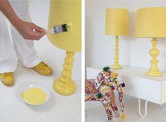 Frío o Caliente? Pantalla y pie de lampara pintadas del mismo color