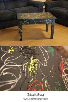 Tavolino in #actionpainting #blackstar #table € 420