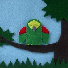 Green Parrot Bird Finger Puppet  Parrot Finger by cherylasmith