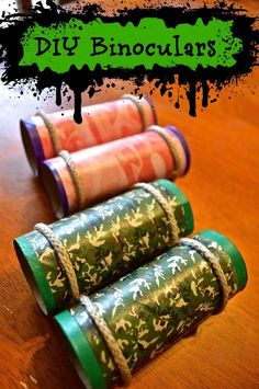 Easy 4 step DIY Camo Recycled Toilet Paper Tube Binoculars for kids, camping parties, bird watching and crafts! Such a cute & simple idea for kids to create!