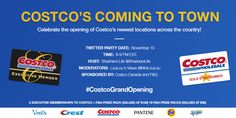 #CostcoGrandOpening Twitter Party on 11/15/2016 at 8-9pm ET ET - http://thisbirdsday.com/costcograndopening-twitter-party-on-11152016-at-8-9pm-et-et/ #TwitterParty
