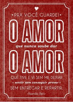 Pra Você Guardei o Amor - Nando Reis                                                                                                                                                                                 Mais Music Love, Music Is Life, Soul Songs, Life Goes On, Family Love, Words Quotes, Positive Vibes, Verses, Books To Read