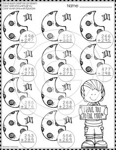 Need extra addition practice? These ten pages focus on three-digit addition. Most problems require regrouping. Printables either ask for odd/even, rounding to t Math Activities, Teaching Resources, First Grade Math, Second Grade, Fourth Grade, Math Numbers, Elementary Math, Christmas Activities, Math Lessons