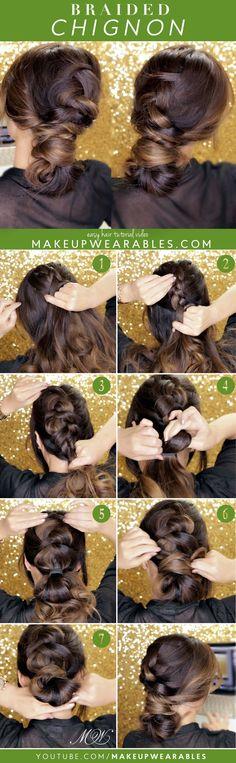 Cute Dutch Braid Bun with side Twist Hairstyle - Hair Tutorial