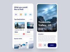 Travel App designed by Nas. Connect with them on Dribbble; Ui Design Mobile, App Ui Design, User Interface Design, Flat Design, Low Poly, App Design Inspiration, Mobile App Ui, Travel Design, Instagram Travel