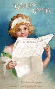 Divided Back Postcard Valentine Greetings Children Victorian Valentines, Vintage Valentines, Valentines Greetings, Valentine's Day, Old Newspaper, Saint Valentine, Girl Reading, Vintage Roses, Vintage Postcards