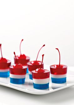 JELL-O Firecrackers- This patriotic dessert will surprise all of your guests during the festive days.