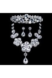 The Latest Style Rhinestones and Zircons Wedding Jewelry Set with Earring,Necklace and Headpiece