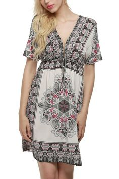 Women Bohemian Vintage Printed Summer Shift Dress:Summer Fashion: Spring Outfits:Casual Outfits:Cute Outfits: Summer Outfits: Spring Outfits:Spring Outfits:Summer Dress