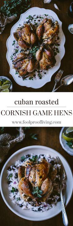 Cuban Roast Cornish Game Hens: Recipe for lime-garlic-fresh oregano marinated cornish game hens roasted in the oven beautifully served on cuban black bean rice.