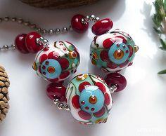 Lina Khan | Lampwork Beads: AUCEA - 3 handsome Lampwork Beads