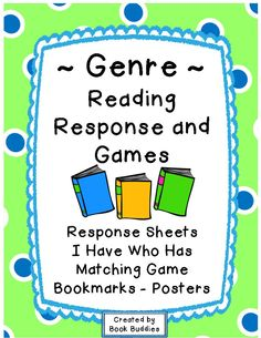 Reading response sheets in 16 genres, for any text, plus I Have Who Has and matching games from Book Buddies.  Use throughout the school year  for literacy centers, assessments, homework and more.  Bookmarks/posters are included for quick reference. Matching cards are also perfect for labeling your classroom by genre. $