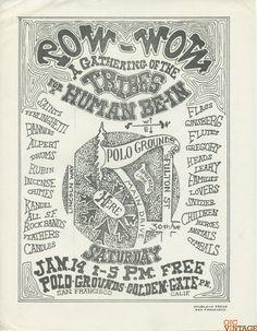 Human Be-In (Map) Handbill 1967 Nov 14 Grateful Dead, Jefferson Airplane, Charlatans & lot more at Golden Gate Park