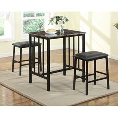 Citico Transitional Metal and Faux Marble 3-piece Counter-height Pub Table Set