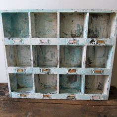 Wooden cubby organizer wall hanging beachy by AnitaSperoDesign