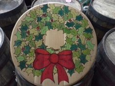 Re-made in Kentucky Bourbon Barrel, Christmas Wreaths, Plates, Gallery, Tableware, How To Make, Licence Plates, Dishes, Dinnerware