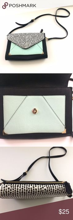 Aldo Envelope Crossbody Clutch Beautiful black, white, mint green and gold crossbody envelope clutch. Perfect for any occasion! Has a few minor scuffs on the front, otherwise in good condition! Aldo Bags Crossbody Bags