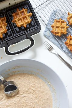 These mini sweet potato waffles are perfect for baby's first finger foods - easy to grasp, easy to gnaw on and easy for you to enjoy right along with them! They're a delicious and healthy breakfast, snack, and also great for school lunches! Mini Waffle Recipe, Waffle Recipes, Baby Food Recipes, Easy Meals For Kids, Kids Meals, Baby First Finger Foods, Tofu, How To Make Waffles, Sweet Potato Waffles