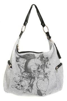 Grey Skull and Heart Hobo Bag