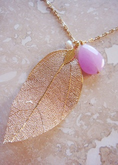 Leaf It To Me Necklace Gold Gilded Genuine Lavender Stone Pendant | The Lovely Locket