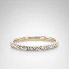 Diamond Pavé-Set Ring in 14K Yellow Gold (1/4 carat t.w.)