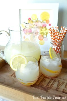 Kick back and relax! Refreshing Sparkling Ginger Lemonade Recipe via www.twopurplecouches.com