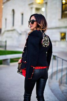 Trending: Embroidered Jackets - Zara Military Jacket // Revolve Red Lace Top // BlankNYC Vegan Leather Pants // Chelsea Paris Heels // NastyGal Sunglasses // Chanel Bag September 27th, 2016 by maria