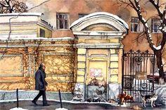 Мокрый снег на улице Солянка. Прогулка по Москве. Картины Алены Дергилевой