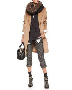 -61X5 Brunello Cucinelli Wool Monili-Snap Long Coat, Asymmetric One-Button Vest, Long-Sleeve Silk-Hem Shirt, Ankle Pants with Monili Cuffs, Fur-Trimmed Boucle Scarf & Cashmere-Blend Mid-Calf Socks