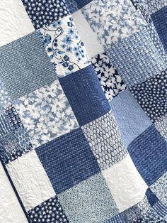 King patchwork quilt w designer fabrics blue white ella etsy super ideas for patchwork quilt baby girl sew Quilt Baby, Baby Girl Quilts, Girls Quilts, Blue Quilts, Denim Quilts, White Quilts, Scrappy Quilts, Patchwork Baby, Patchwork Patterns