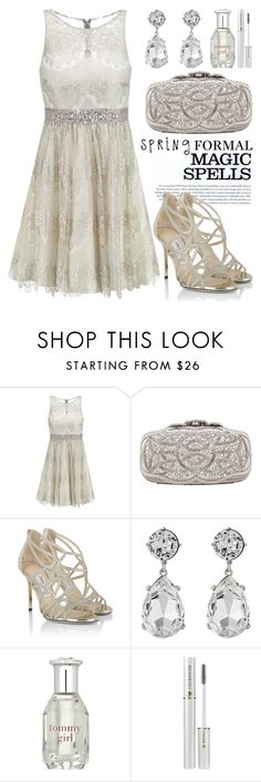 """Spring Formal 1244"" by boxthoughts ❤ liked on Polyvore featuring Laona, INDIE HAIR, Oscar de la Renta, Jimmy Choo, Kenneth Jay Lane, Tommy Hilfiger, Lancôme and springformal"