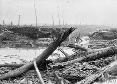 WWI, 6 August 1917; The Battles of Ypres. The canal at Boezinge, after it had been passed by the British advance, showing bridge destroyed. © IWM (Q 2682)