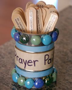 DIY Prayer Pail (with 25 printable mealtime prayers) . Or prayer requests. Warning: have lots of extra sticks as prayers are answered. Take them out with prayers of thanksgiving and add new ones. Ramadan Crafts, Vbs Crafts, Church Crafts, Crafts For Kids, Bible School Crafts, Sunday School Crafts, Bible Crafts, Prayer Jar, Prayer Room
