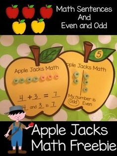 This is a fun freebie to add to your apple theme. Pick between addition sentences or even and odd. If you have time do both! Enjoy! @katiehappymom