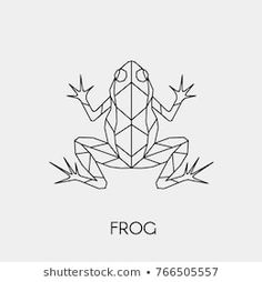 Immagine vettoriale stock 766505557 a tema Vector Abstract Polygon Outline Frog Geometric (royalty free) Geometric Symbols, Geometric Tattoo Design, Geometric Drawing, Geometric Designs, Geometric Shapes, Geometric Animal, Frog Tattoos, Line Tattoos, Frog Outline