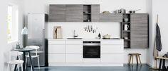 The building's architect, Shigeru Ban, designed the custom kitchen cabinetry. Kitchen Inspirations, New Kitchen, Danish Design Kitchen, Kitchen, Kitchen Living, Kitchen Design, Barn Kitchen, Kitchen Cabinetry, Kitchen Desgin