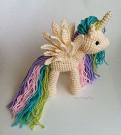 Rainbow unicorn stuffed- $7 etsy pattern - Looks like Princess Celestia!!!!!!!   Like the wings