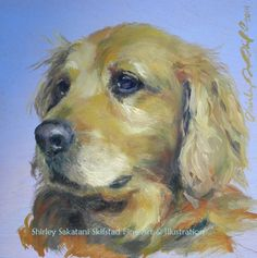 """""""Maisy"""" oil on 8x8"""" cradled birch board. Golden Retriever. One of the sweetest breeds. I must say I love the way the fur turned out; loose and flowing. Just can't plan these things. SOLD"""