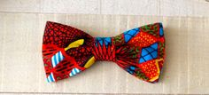 Blue, Red and Black African Wax Print Men's Bow Tie by fancyfreeboutique on Etsy