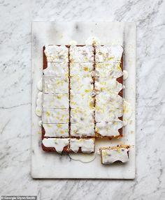 Mary Berry's double lemon traybake recipe - YOU Magazine Carrot Cake Traybake, Lemon Drizzle Traybake, Chocolate Traybake, Tray Bake Recipes, Baking Recipes, Bbc Recipes, British Recipes, Recipies, Mary Berry Tray Bakes