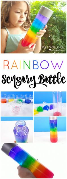 This rainbow discovery bottle is a perfect sensory bottle for a rainbow theme or St. Patrick's Day activity.