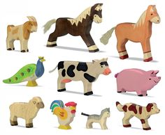 Farm Animals Set, 10pc wooden toys OEM factory www.siyutoys.com educational toys manufacturer