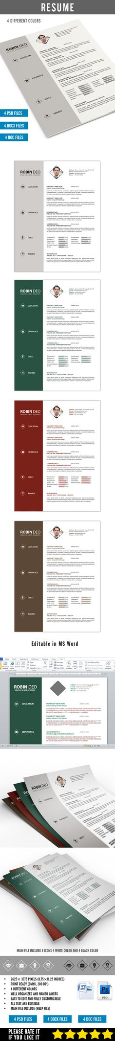 Resume Template PSD, InDesign INDD, AI Illustrator, MS Word - illustrator resume