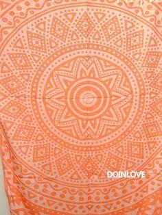 Orange colour sun jacquard soft lightweight Turkish cotton bath towel, beach towel, lightweight travel towel, jacquard sarong.