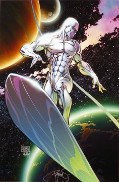 """thecomicninja: """"Silver Surfer by Michael Turner """" with Inks and Colors by the under-appreciated Peter Steigerwald."""