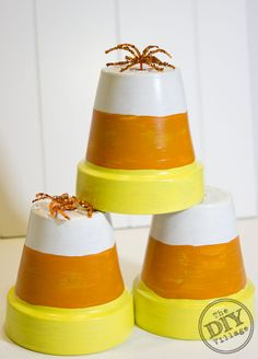 Candy Corn Terracotta Pot Halloween Decor - BOO! Halloween is COMING FOR YOU! - jen