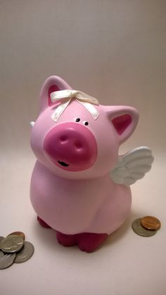 Priscilla the Hand Painted Flying Pig Piggy Bank on Etsy, $28.00